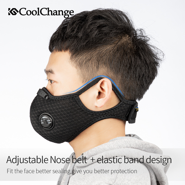 CoolChange Cycling Face Mask Activated Carbon With Filter PM2.5 Anti-Pollution Bike Sport Protection Dust Mask Anti-droplet 3