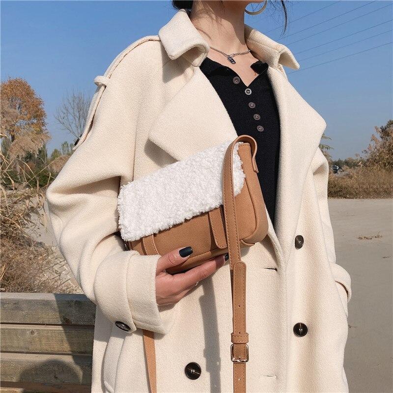 Trendy multi-layer messenger bag ladies handbag shoulder bag envelope bag fashion all-match mobile phone bag lamb wool wallet
