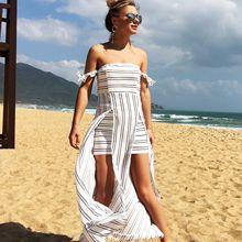 Black and White Striped Dress Off The Shoulder Asymmetrical Ruffles Summer Dress Slit Strapless Sexy Dress Robe Ete 2019 Femme casual off the shoulder sheath slit dress