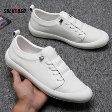 SOLUDOSO  Genuine Leather Shoes Men Sneakers Casual Male Footwear Fashion Brand White Shoes Mens Cow Leather White Sneakers