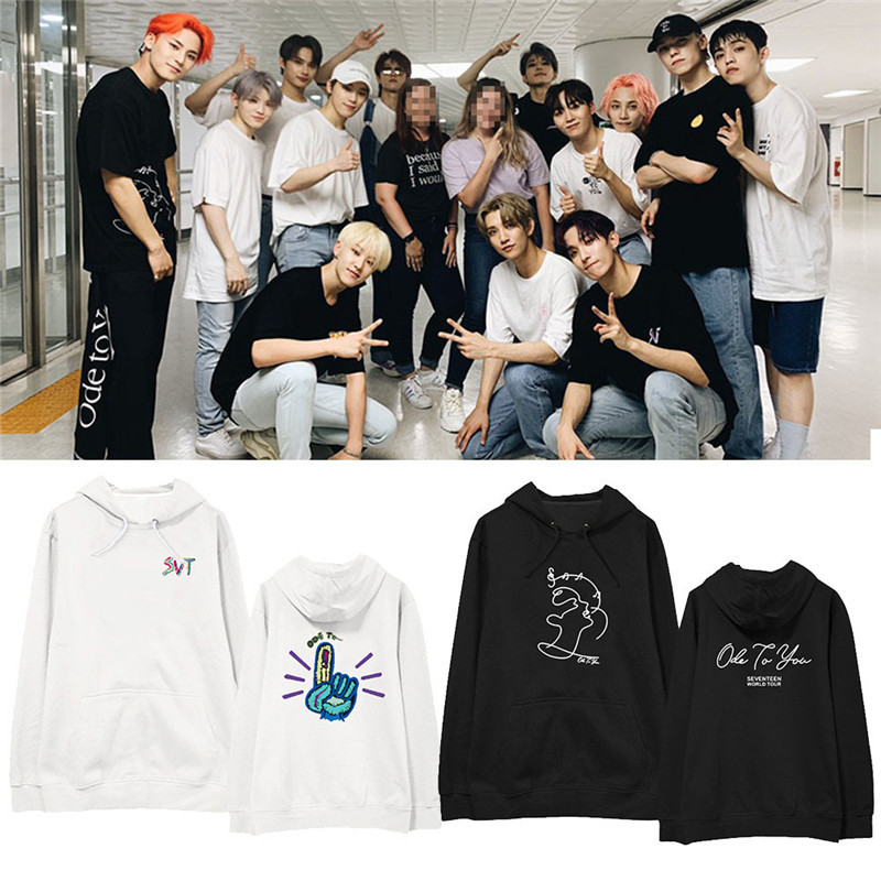 KPOP SEVENTEEN WORLD TOUR ODE TO YOU Album Oversized Hoodie Casual Loose Hooded Pullover Printed Long Sleeve Sweatshirts WY1230