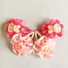 1Pcs/lot Fashion Ribbon Flower Children Cute Rabbit Hairclips Chiffon Accessories BB Clip Hairpins Barrettes Headwear