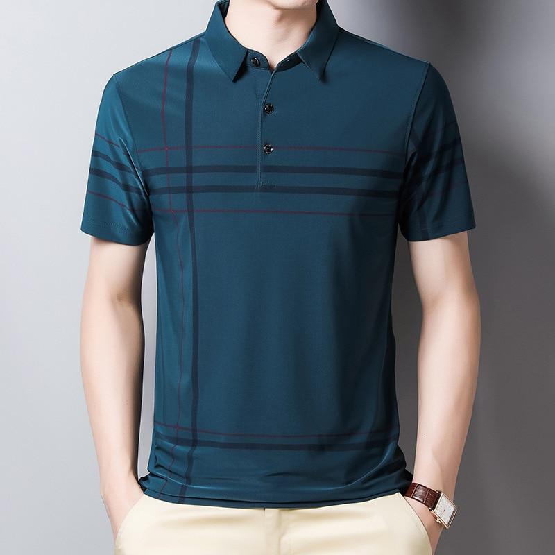 Ymwmhu Fashion Slim Men Polo Shirt Black Short Sleeve Summer Thin Shirt Streetwear Striped Male Polo Shirt for Korean Clothing 6