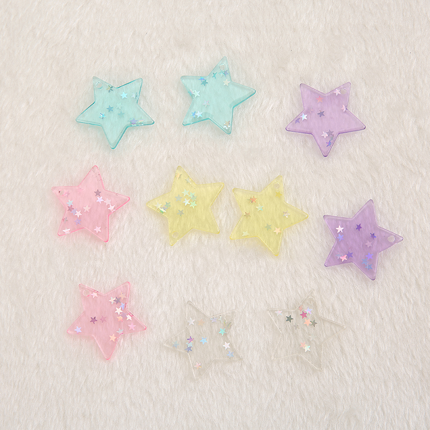 10pcs Cute FlatBack Resin Cabochons  Glitter Star With Hole Crafts For Jewelry DIY Decoration