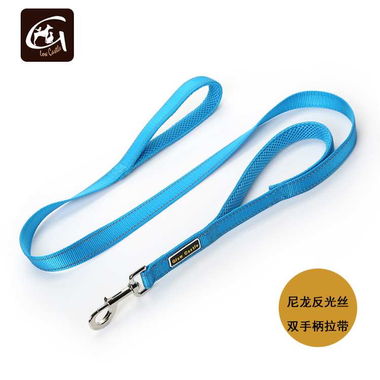 Guangzhou Pet Dog Rope Pet Traction Rope Double Handle Length Distraction Nylon Reflective Double Handle Sling