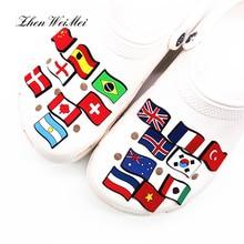Обувь аксессуары подвески аксессуары Россия Корея Бразилия и т. Д. Национальные флаги обувь украшение для Croc Jibz Kids Рождество вечеринка подарки