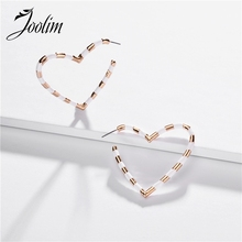 Joolim Black White Enamel Heart Hoop Earring Chic European Lead & Nickel Free