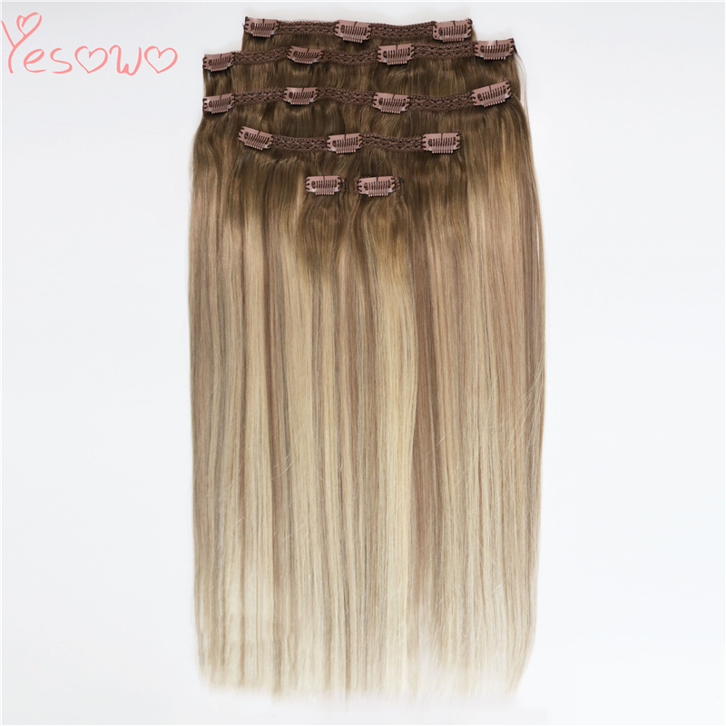 Yesowo Brazilian Straight Hair Clip Ins SB# Piano Color Full Head 6Pcs 12-26Inch Highlight Remy Human Hair Extensions Clip In