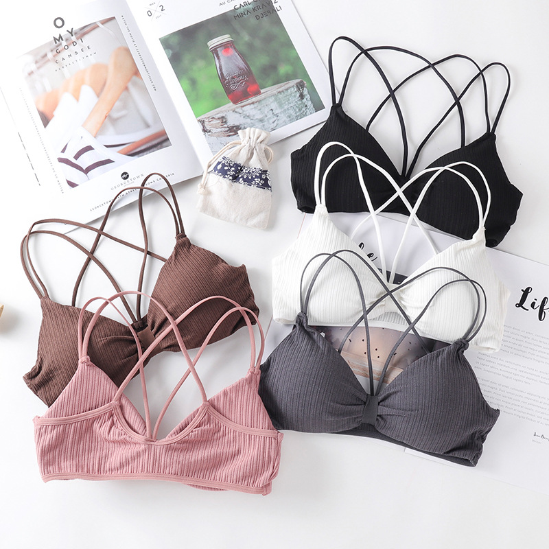 Women Comfortable Sexy Tube Tops Cross Beauty Back Sling Bras Solid Tube Tops Ladies Underwear