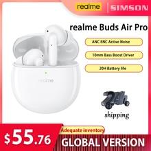 Realme ניצני אוויר פרו אלחוטי Bluetooth אוזניות ANC אוזניות 10mm בס שפר נהג אוזניות אלחוטי אוזניות