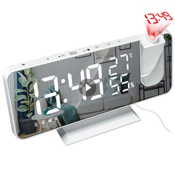 Cyfrowy budzik LED zegar projektor cyfrowy Radio z budzikiem moda regulowany lustro budzik z temperaturą gorąca sprzedaż tanie i dobre opinie CN (pochodzenie) SQUARE --mm DIGITAL Zegarki z alarmem Z tworzywa sztucznego Nowoczesne Jedna twarz 7 5 inches Plastic 185*45*91mm
