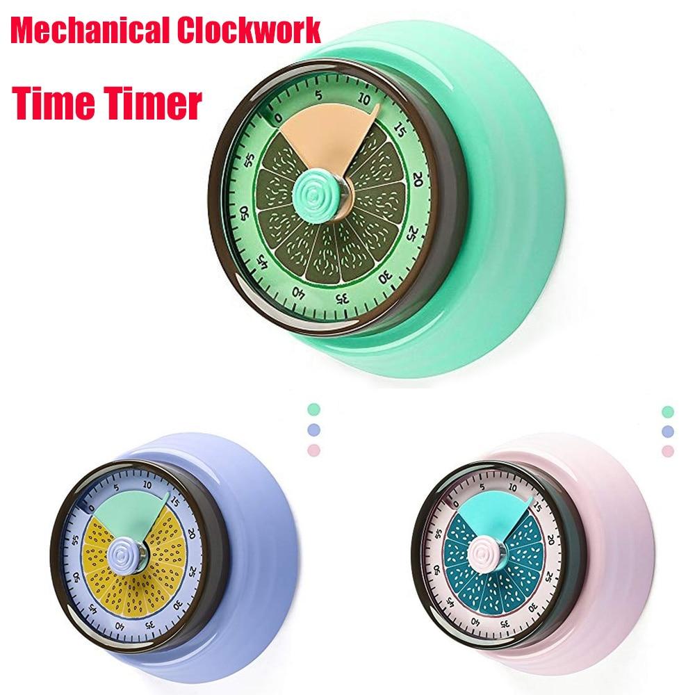 Alarm Visual-Timer Kitchen Clock Mechanical-Clockwork Stainless-Steel Countdown Magnetic