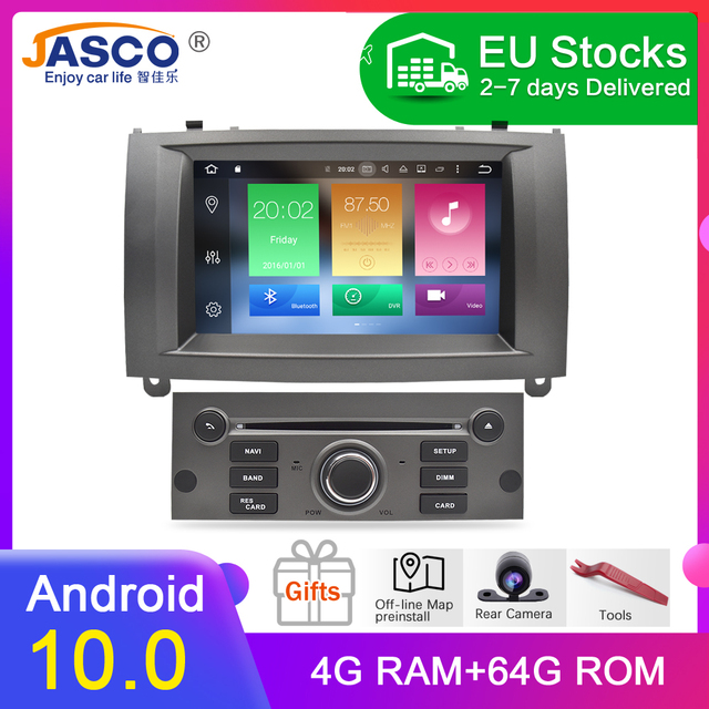 100% Newest Brand Android 10.0 Car DVD Player GPS Glonass Navigation for Peugeot 407 2004 2010 4GB RAM Multimedia Radio Stereos