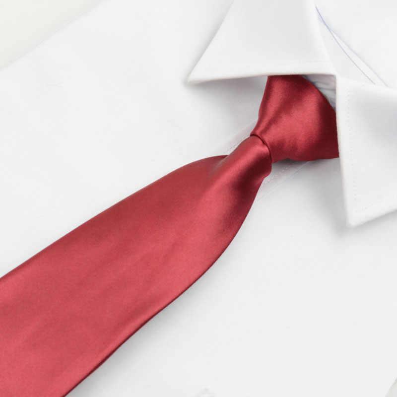 Moda Solid Color Slim wąski leniwy krawat wstępnie wiązany krawat męskie Zipper krawaty Skinny czerwony czarny niebieski oblubieniec Party Dress