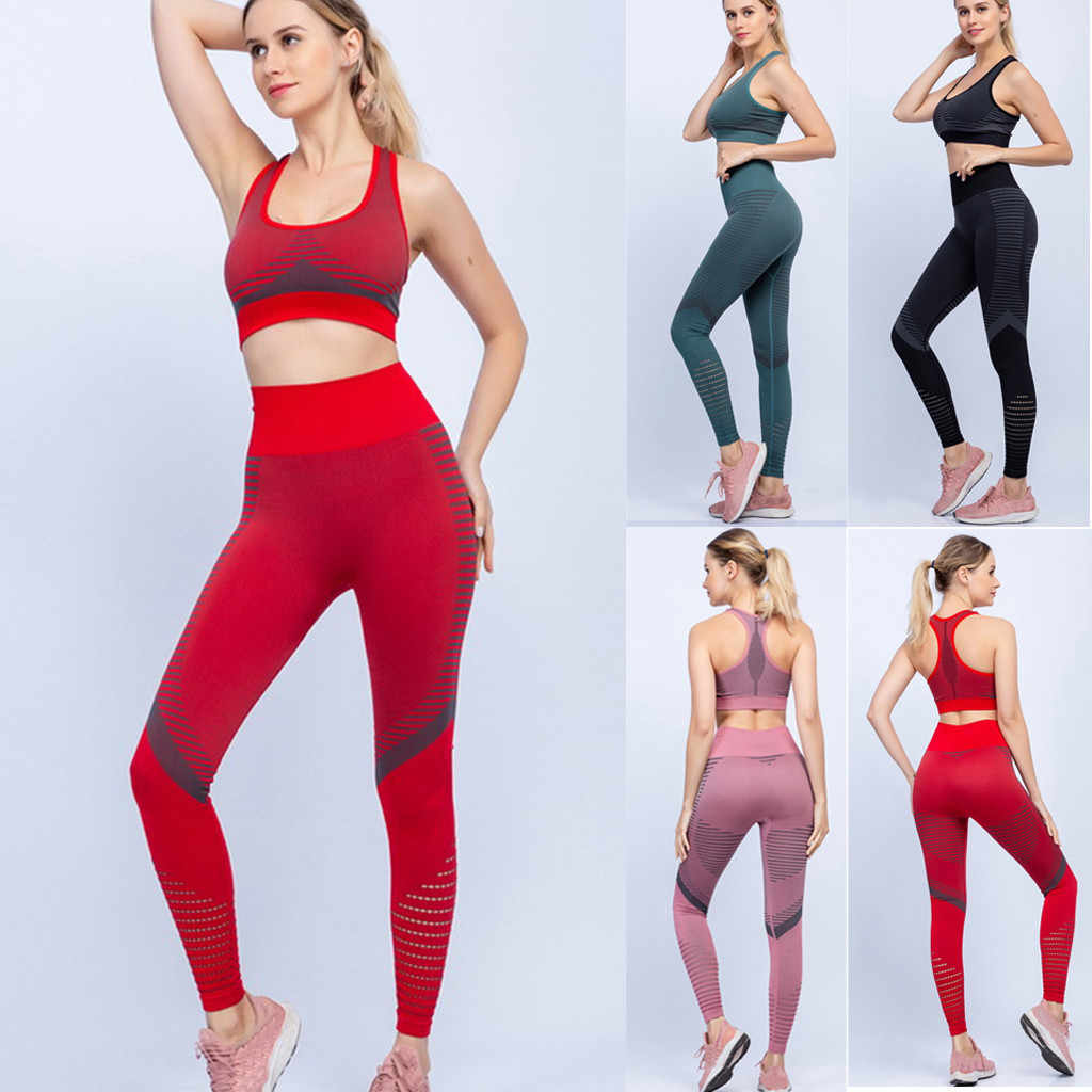 2PCS/Set Seamless Fitness Women Yoga Suit High Stretchy Workout Sport Set Padded Sports Bra High Waist Splice Sports Legging Gym