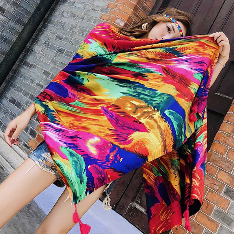 Summer Cotton And Linen Scarf Colored Feather Swimsuit Cover Up Scarves Sunscreen Beach Towel Strand Jurkjes