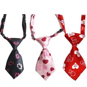 Image 4 - 60 pièces saint valentin accessoires pour animaux de compagnie rose amour chien cravates noeud papillon collier grand chien chat de compagnie chien vacances toilettage produits