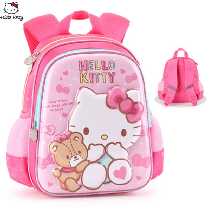 Hello Kitty New Girls Backpack Cute Pink 3D Cartoon Cat Pattern Backpack Polyester Waterproof Material Can Join Party Backpack