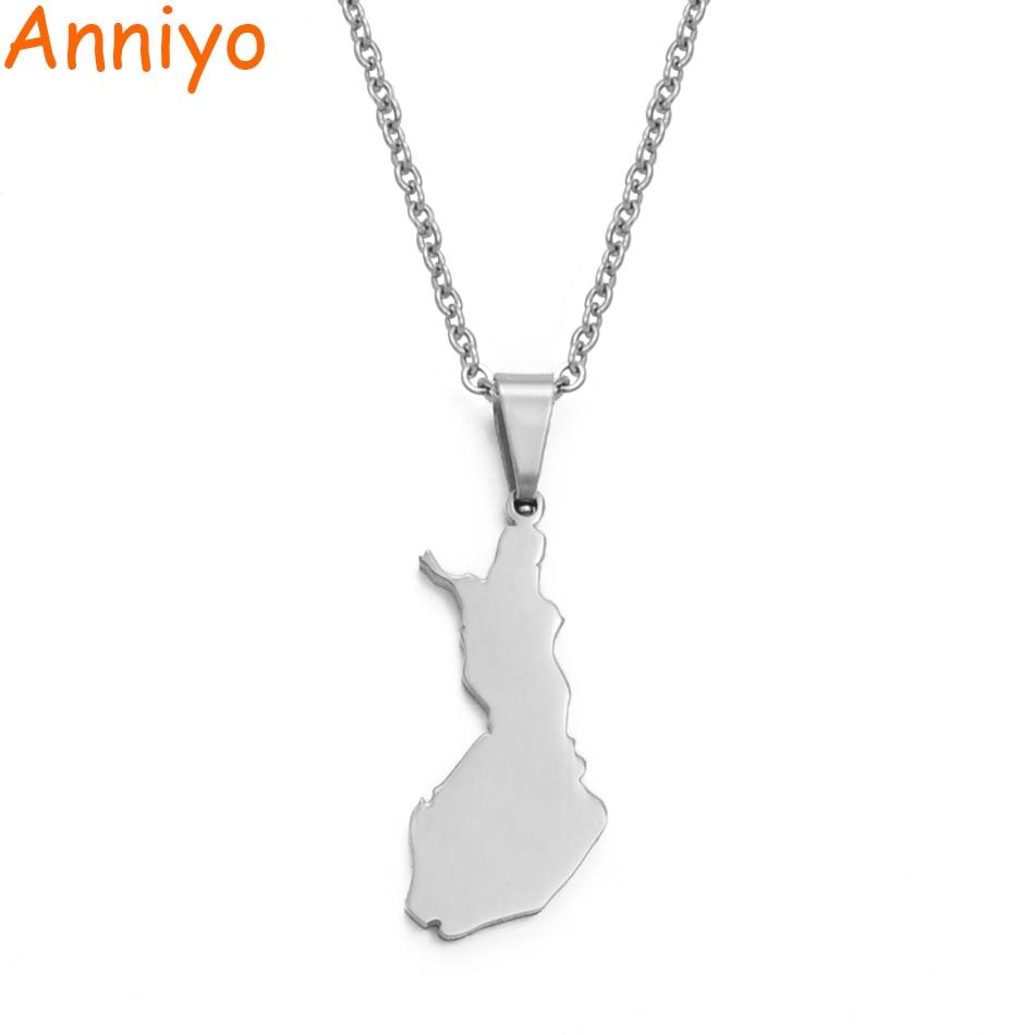 Подвеска и ожерелье Anniyo 316 из нержавеющей стали Suomen Tasavalta, карта для женщин, карты стран Suomi/Finland, подарки для ювелирных изделий # 021621B