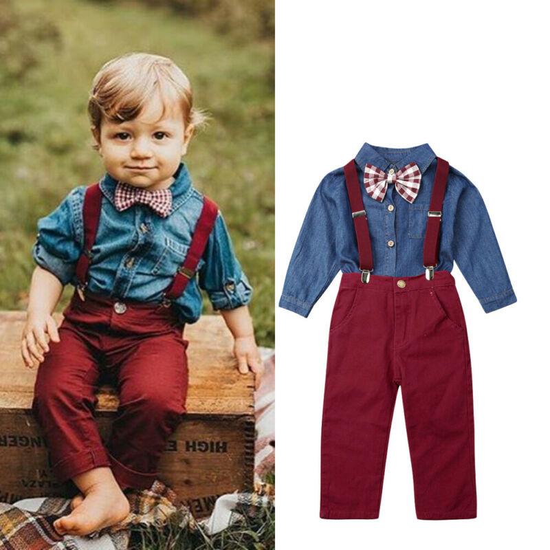 Toddler Kids Boys Shirt Tops Coat Denim Pants Clothes Outfits Gentleman 2pcs Set