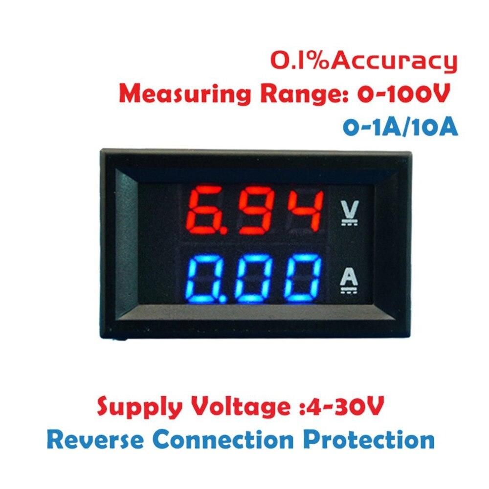 2 в 1 цифровой вольтметр Амперметр постоянного тока 100 в 10 А синий + красный двойной цветной дисплей светодиодный усилитель двойной цифровой ...