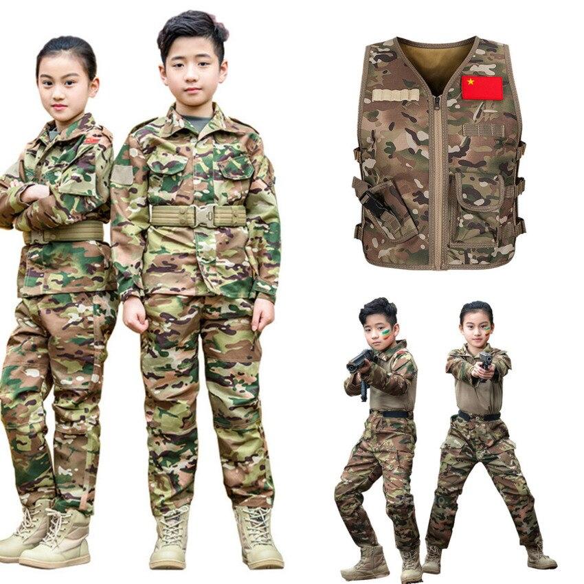 2020 WW2 Children Military Uniform Tactical Combat Boy Girl Jacket Pants Sets Camouflage Jungle 2Pcs Kids Special SWAT Army Suit