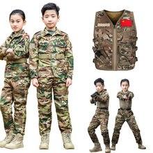2020 ww2 crianças uniforme militar tático combate menino menina jaqueta calças define camuflagem selva 2 pçs especial swat terno do exército