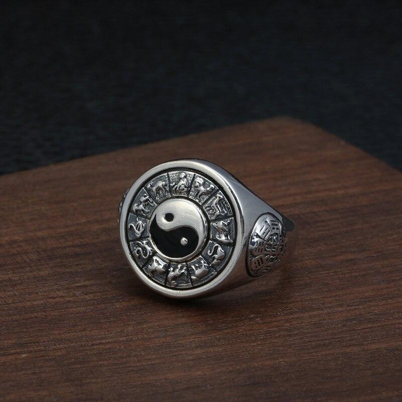 2019 Tai Chi potins zodiaque anneau réglable 100% pur 925 argent Sterling pour hommes bague de fiançailles bijoux fins cadeaux d'anniversaire - 5