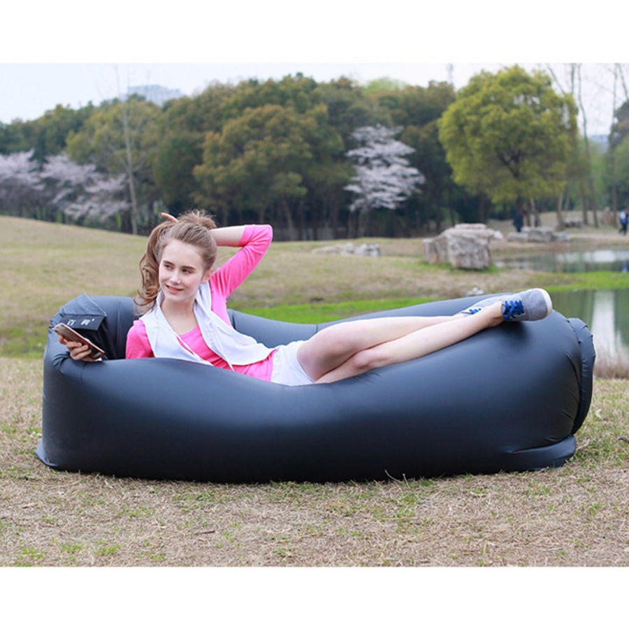 GH Outdoor Inflatable Sofa Bed Beach Folding Sleeping Bag Garden Couch Seat Lazy Air Lounger Chair Inflatable Furniture