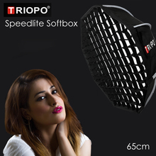 Triopo Portable Flash Speedlite Softbox w/ Honeycomb Grid 65cm Photo Outdoor Octagon Umbrella Soft Box for Canon Nikon Godox