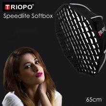 Triopo Portatile Flash Speedlite Softbox w/Griglia A Nido Dape 65 centimetri Foto Esterna Octagon Ombrello Soft Box per Canon Nikon godox