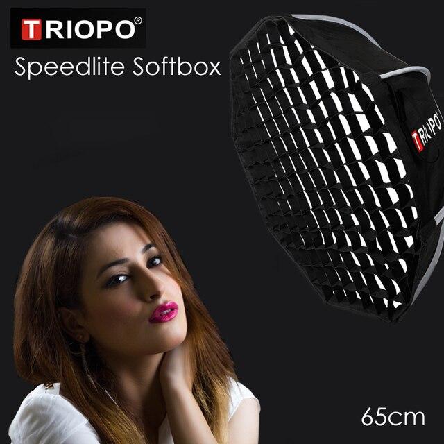 Triopo przenośna lampa błyskowa Speedlite Softbox z siatką o strukturze plastra miodu 65cm zdjęcie na zewnątrz Octagon parasol miękkie pudełko do Canon Nikon Godox