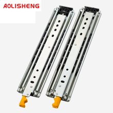 76mm Wide Heavy-duty Drawer Slide Rail 3 Folding Ball Bearing Telescopic Fully Extended Industrial Slide Rail With Lock