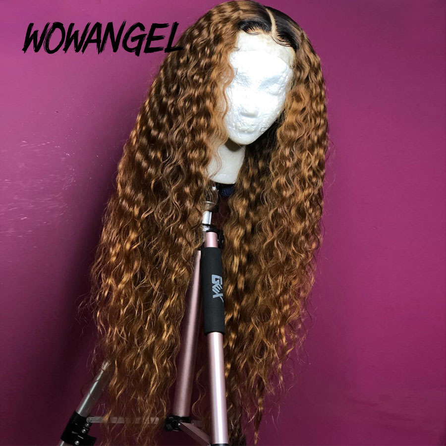 Wowangel Pre Plucked 1b/27 Ombre Colored Brazilian Curly Remy Ombre Blonde Curly Wig 13x6 Lace Front Human Hair Wigs