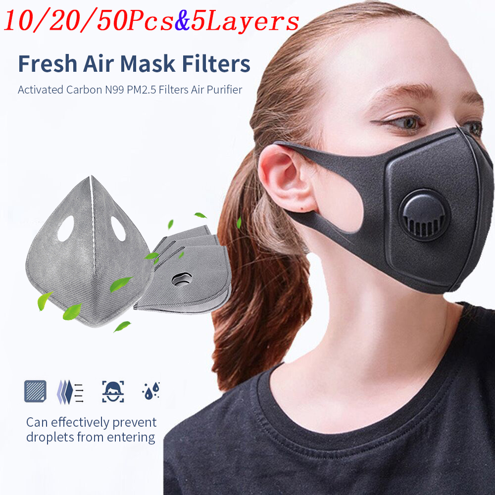 10/20/50pcs 5 Layers Activated Carbon PM2.5 Anti Dust Formaldehyde Bacteria Proof Face Mouth Mask KN95 Face Mask Filter Health