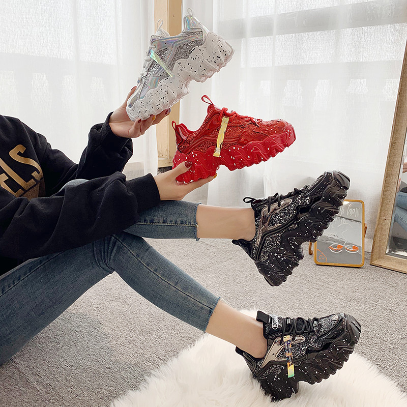 HKWS Super fire dad shoes female tide 2020 new Korean version of the wild sequins sports casual shoes running shoes C030