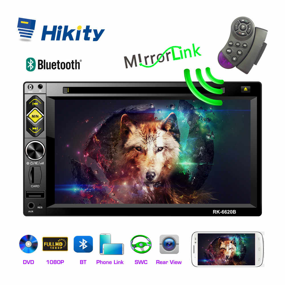 Hikity 2 din Car Radio 6.2 Inch Touch Screen Car DVD Multimedia Player Steering Wheel Control Receiver Support Rear View Camera