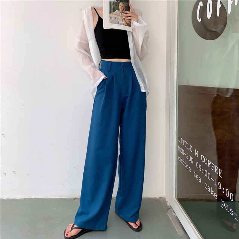 HziriP Loose Brief Women Chic High Quality 2020 High Waist Slender Autumn New Plus Size Straight Solid Casual Wide Leg Trousers