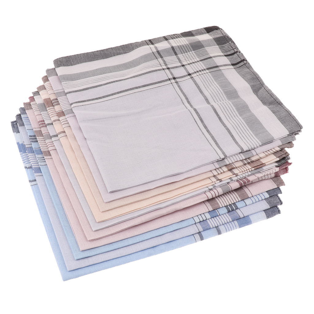 10/12 Pcs 100% Cotton Handkerchiefs With Stripe Hankies Gift Set For Women Men Classic Plaid Handkerchief