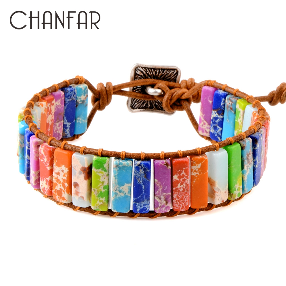 Chanfar 7 Chakra Bracelet Bohemia Handmade Natural Stone Tube Beads Genuine Leather Wrap Bracelet Yoga Couples Bracelets woman(China)