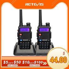Retevis RT5R Walkie Talkie 2 adet 5W 128CH USB VHF UHF Ham radyo iki yönlü radyo Comunicador için avcılık/Airsoft Baofeng UV 5R UV5R