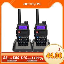 Retevis RT5R Walkie Talkie 2Pcs 5W 128CH USB VHF UHF HamวิทยุวิทยุComunicadorสำหรับการล่าสัตว์/Airsoft Baofeng UV 5R UV5R