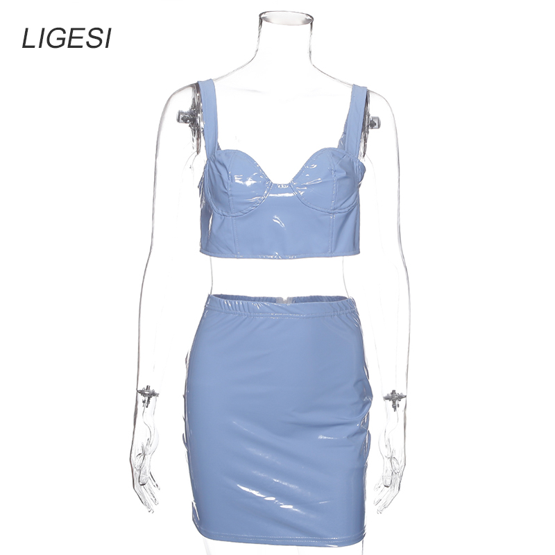 PU Leather Sexy Two Piece Set Spaghetti Strap Crop Top And Mini Bodycon Skirts 2019 2 Piece Set Women Summer Outfits in Women 39 s Sets from Women 39 s Clothing