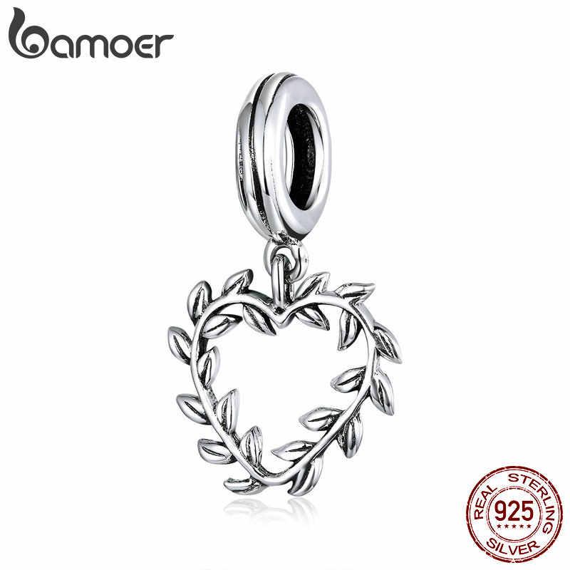 Bamoer folha do vintage videira coração pingente charme para pulseira colar 925 prata esterlina jóias acessório diy bijoux scc1520