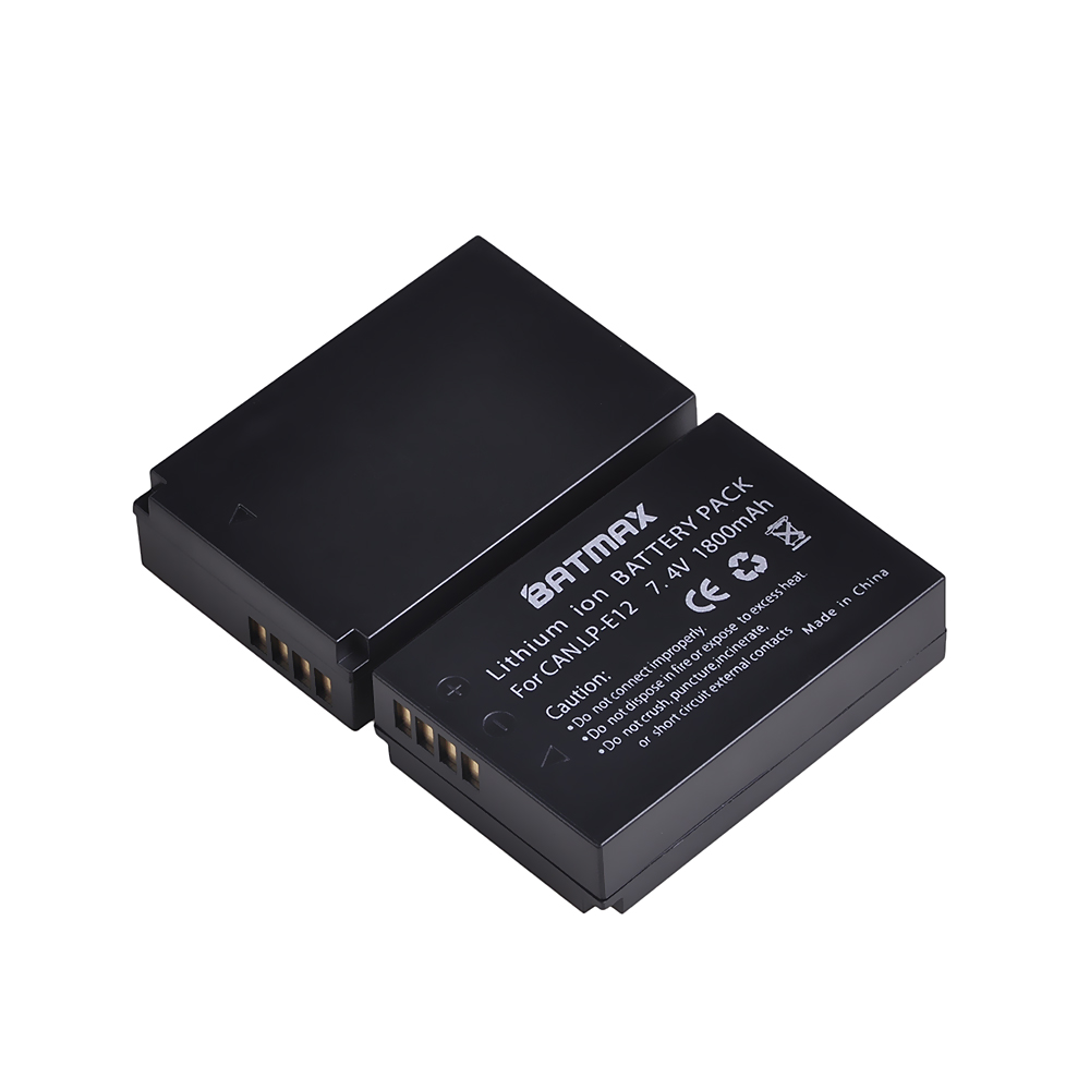 Batmax 1800mAh LP-E12 LP E12 LPE12 Rechargeable Battery For Canon EOS M EOS M10 M100 EOS Rebel SL1 EOS 100D Digital Cameras
