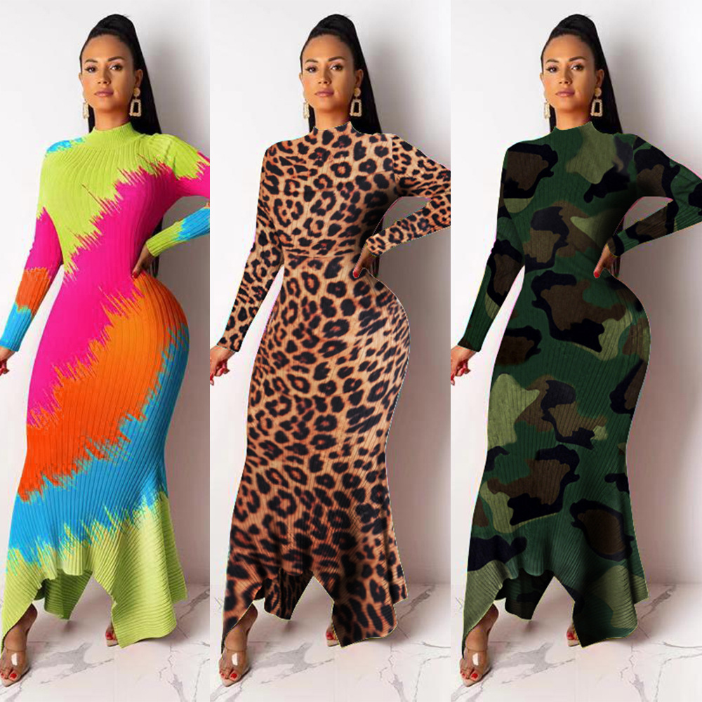 African Dresses For Women Bodycon Maxi Dress Striped Leopard Long Sleeve Casual Robes Camouflage Print Knitted Party Dresses