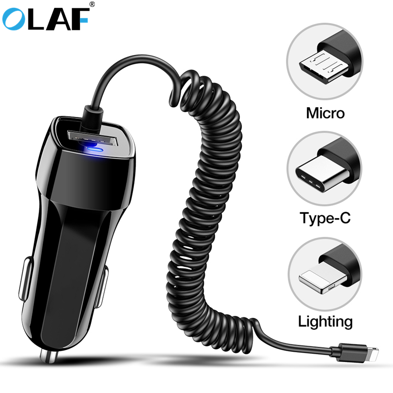 Car Charger With USB Cable Mobile Phone Charger For iphone 11 7 Samsung S10 Xiaomi Micro USB Type C Cable Fast Car Phone Charger