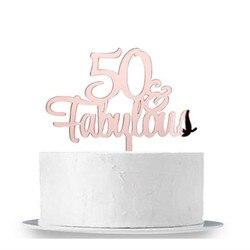50 & Сказочный свадебный торт Топпер зеркало, розовое золото 50-й День Рождения украшения для торта для вечеринки Cheers до 50 лет торт Топпер