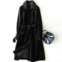 Women's Fur Coat 100% Wool Coats Long Women Tops Autumn Winter Jacket Women Clothes 2020 Korean Mink Fur Collar Vintage ZT1509