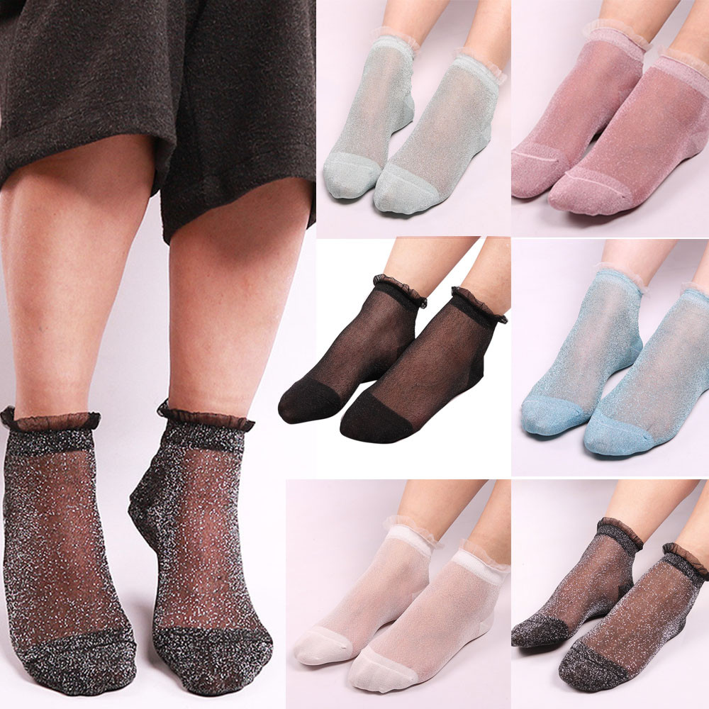 Lace Boat Socks Casual Socks Women Summer Sheer Silky Glitter Transparent Long Ankle Socks Elegant Of Fresh Women Summer Socks